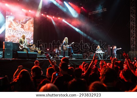 PIESTANY, SLOVAKIA - JUNE 26: Finnish power metal band Stratovarius performs on music festival Topfest in Piestany, Slovakia on June 26, 2015