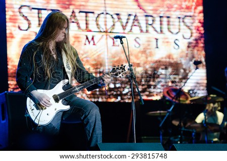 PIESTANY, SLOVAKIA - JUNE 26: Matias Kupiainen - guitarist of Finnish power metal band Stratovarius performs on music festival Topfest in Piestany, Slovakia on June 26, 2015 - stock photo