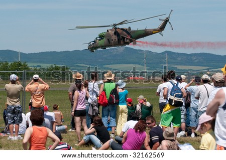 PIESTANY, SLOVAKIA - JUNE 14: MI-24 helicopter during airshow in Piestany, Slovakia, June 14, 2009.
