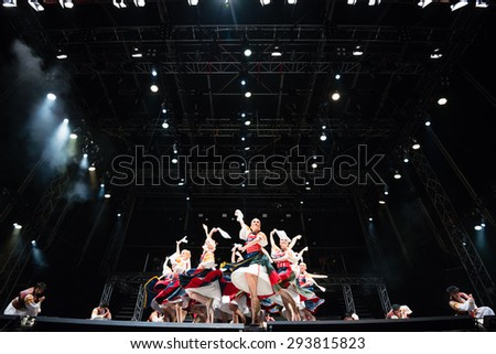PIESTANY, SLOVAKIA - JUNE 28: Slovak National Folklore Ballet Lucnica performs on music festival Topfest in Piestany, Slovakia on June 28, 2015