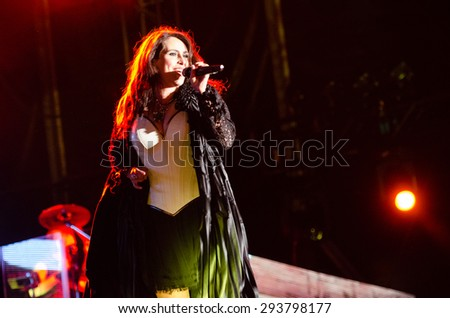 PIESTANY, SLOVAKIA - JUNE 26: vocalist Sharon den Adel of Dutch symphonic metal band Within Temptation performs on music festival Topfest in Piestany, Slovakia on June 26, 2015