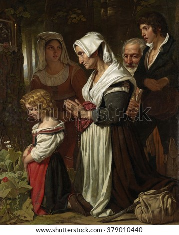 Piety, by Cornelis Kruseman, 1823, Dutch painting, oil on canvas. A group of people praying at a Marian shrine along a path in a forest, includes a woman kneeling with a rosary. Knapsack on a stick su