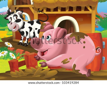pig and cow playing - stock photo