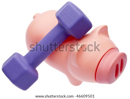 Pig and Purple Weight symbolize the cost of working out and a good diet. - stock photo