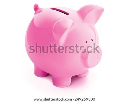 Pig bank, isolated. Illustration - stock photo