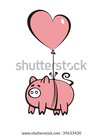 pig flying on a heart-shaped balloon