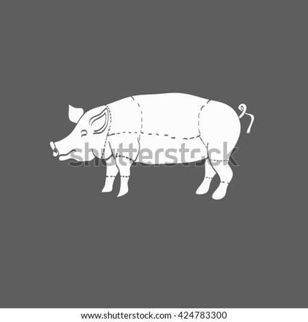 pig icon, vector pig silhouette, isolated butcher shop sign