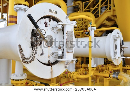 Pig luncher in oil and gas industry, Cleaning pipe line equipment in oil and gas industry - stock photo