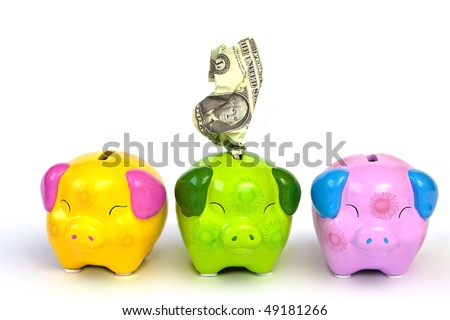Pig money box and dollar banknotes.