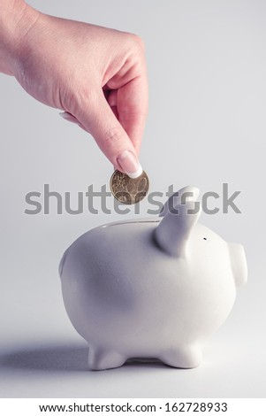 pig money box with golden coin