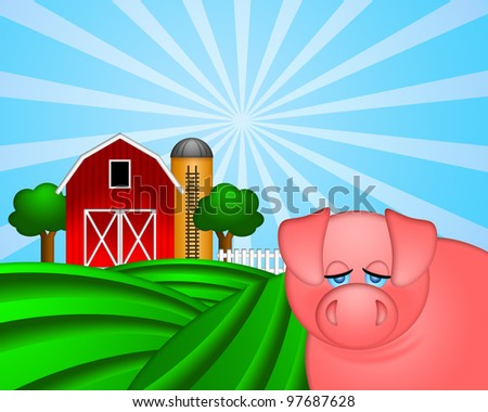 Pig on Green Pasture with Red Barn with Grain Elevator Silo and Trees Illustration - stock photo
