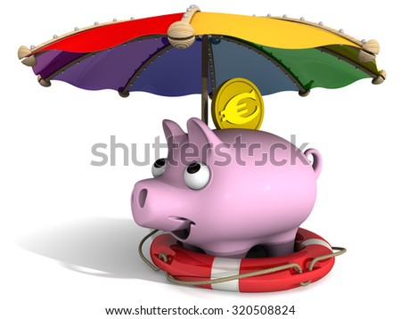 Pig piggy bank and one coin with the symbol of the European currency in the lifebuoy under an umbrella. The safety concept of savings