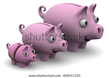 Pig piggy banks lined up in a row. Funny pig piggy banks ranked by growth on a white surface. The concept of the growth of financial savings. Isolated. 3D Illustration