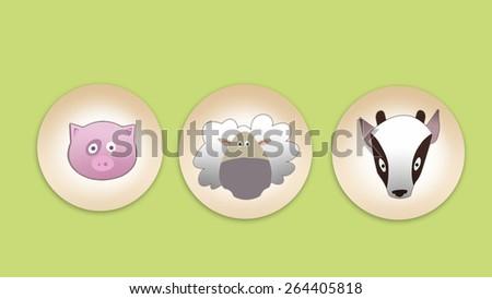Pig, sheep and goat flat icon set on light green backdrop. Digital background raster illustration - stock photo