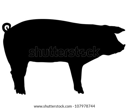 Pig silhouette - stock photo