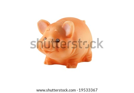 Pig toy isolated over white