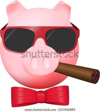 Pig with cigar, mirror glasses and red bow - stock photo