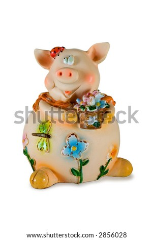 Pig with flowers, isolated on white, clipping path