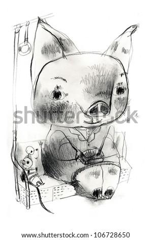 Pig woman on train - stock photo