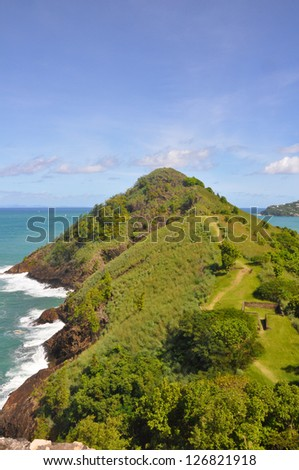 Pigeon Island in St Lucia - stock photo