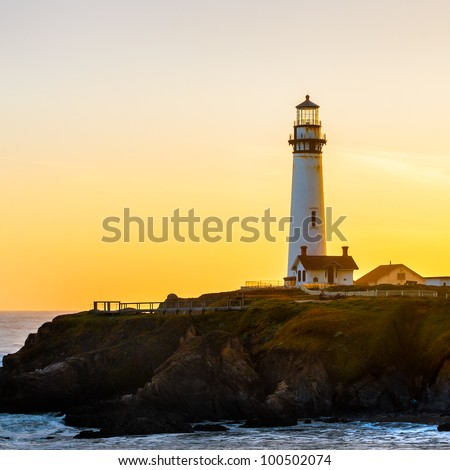 Pigeon Pight Lightouse at sunset, California, USA. - stock photo