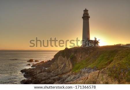 Pigeon Point Light house, California - stock photo