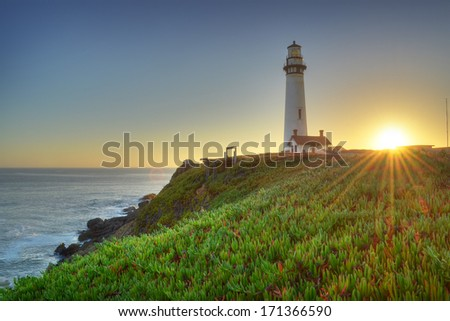 Pigeon Point Light house, California - stock photo