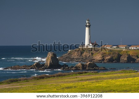 Pigeon Point Lighthouse, California. Perched on a cliff on the central California coast, 50 miles south of San Francisco, the 115-foot Pigeon Point Lighthouse has been guiding mariners since 1872.