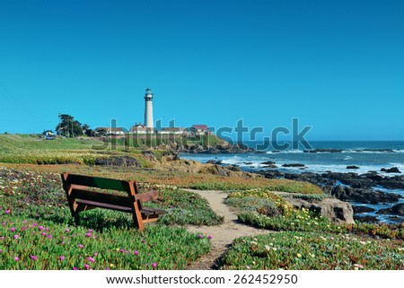 Pigeon Point lighthouse in Big Sur California. - stock photo