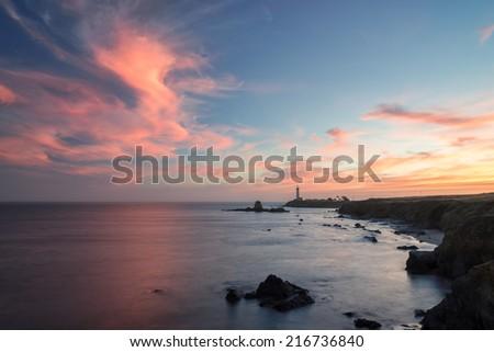 Pigeon Point Lighthouse,  sunset, Pacific coast - stock photo