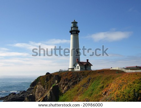 Pigeon Point Lighthouse with rocky coastline