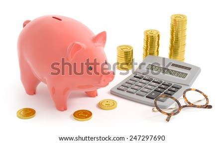Piggy Bank Accounting. Retro style composition of the coin bank near the abstract coins, digital calculator and accountant's spectacles/glasses. 3D rendered image. - stock photo