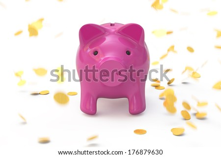 piggy bank and a rain of coins - stock photo