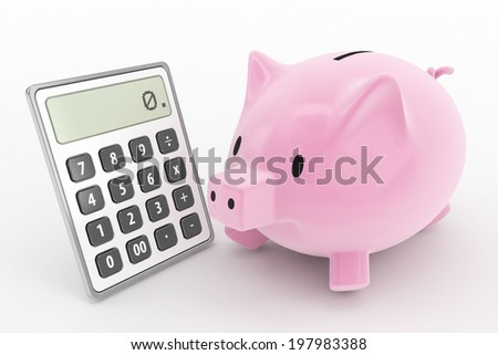 Piggy bank and calculator concept - stock photo