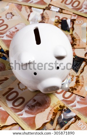Piggy Bank and Canadian dollar, concept of Finance - stock photo