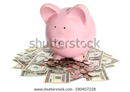 Piggy Bank and Cash - stock photo