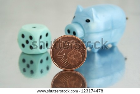 Piggy bank and 2 cents - stock photo