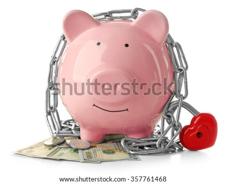 Piggy bank and chains isolated on white  - stock photo
