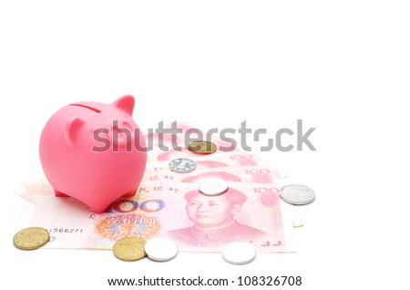 piggy bank and chinese money