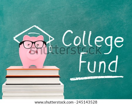Piggy bank and college fund message - stock photo