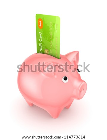 Piggy bank and credit card.Isolated on white background.3d rendered.
