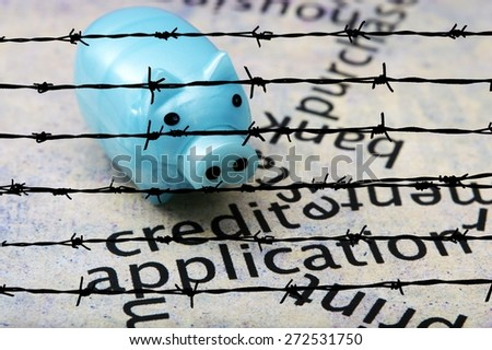 Piggy bank and credit concept - stock photo