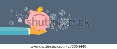 Piggy bank and deposit. Money  saving and money making. Web payments. World currency. Internet store, shopping. Pay per click. Business. - stock photo