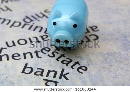 Piggy bank and estate bank concept