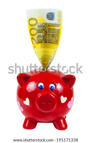 Piggy bank and 200 euro banknote isolated on white background with clipping path - stock photo