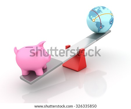 Piggy Bank and Globe World Balancing on a Seesaw - Balance Concept - High Quality 3D Render  - stock photo