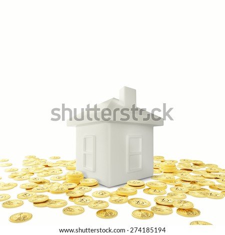 Piggy bank and hand with dollars coin - stock photo