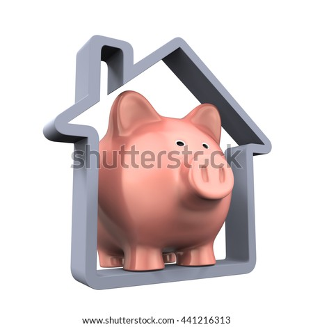 Piggy Bank and House Icon. 3D rendering