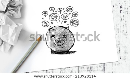 Piggy bank and icon design sketch on paper - stock photo