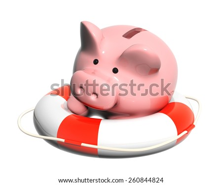 Piggy bank and lifebuoy. Objects isolated on white background - stock photo